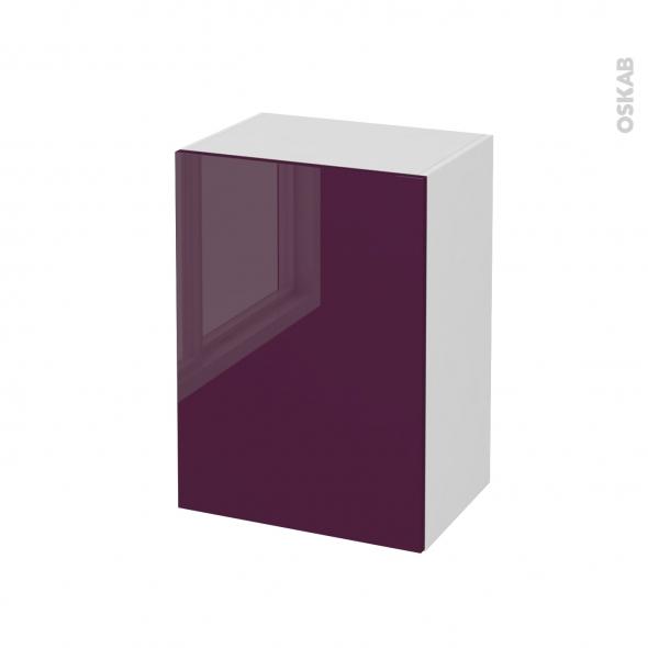 Meuble de salle de bains - Rangement bas - KERIA Aubergine - 1 porte - L50 x H70 x P37 cm
