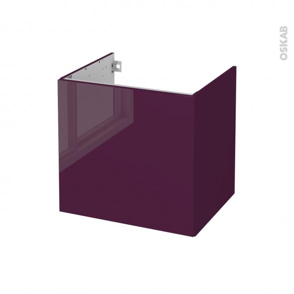Meuble de salle de bains - Sous vasque - KERIA Aubergine - 1 porte - Côtés décors - L60 x H57 x P50 cm