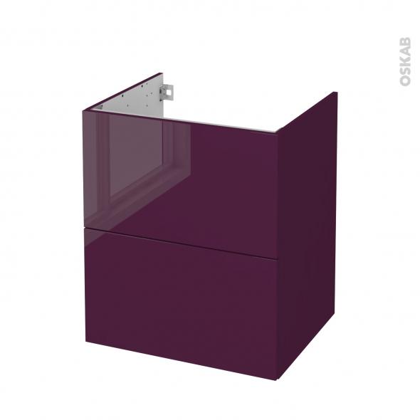 Meuble de salle de bains - Sous vasque - KERIA Aubergine - 2 tiroirs - Côtés décors - L60 x H70 x P50 cm