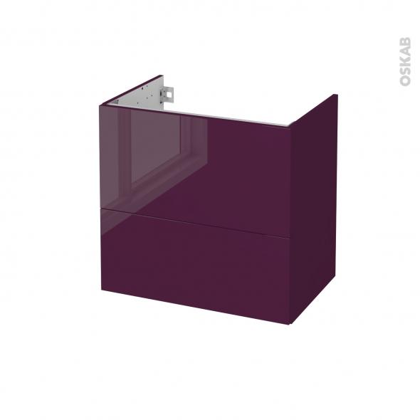 Meuble de salle de bains - Sous vasque - KERIA Aubergine - 2 tiroirs - Côtés décors - L60 x H57 x P40 cm