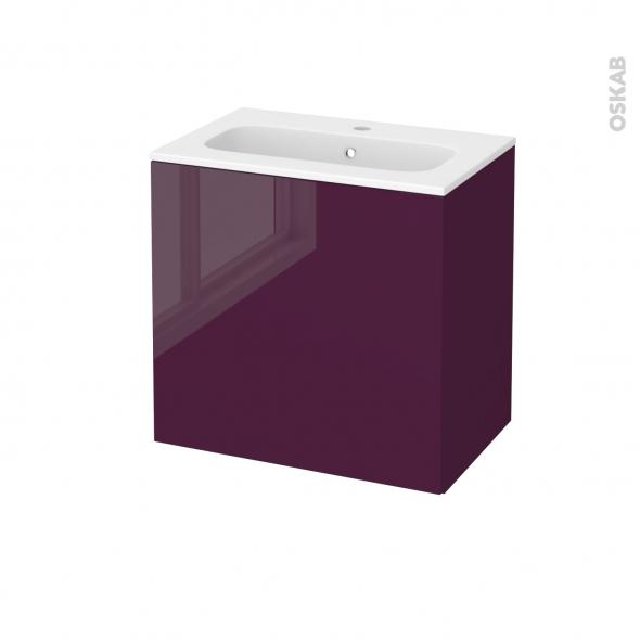 Meuble de salle de bains - Plan vasque REZO - KERIA Aubergine - 1 porte - Côtés décors - L60,5 x H58,5 x P40,5 cm