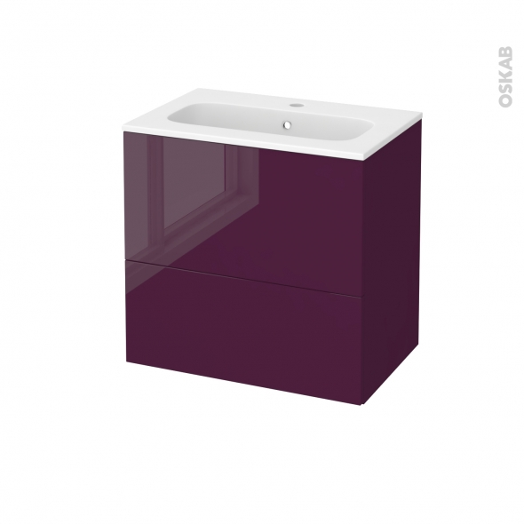 Meuble de salle de bains - Plan vasque REZO - KERIA Aubergine - 2 tiroirs - Côtés décors - L60,5 x H58,5 x P40,5 cm