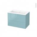 Meuble de salle de bains - Plan vasque NAJA - KERIA Bleu - 2 tiroirs - Côtés décors - L80,5 x H58,5 x P50,5 cm