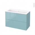 Meuble de salle de bains - Plan vasque NAJA - KERIA Bleu - 2 tiroirs - Côtés décors - L100,5 x H71,5 x P50,5 cm