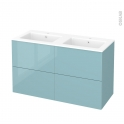 Meuble de salle de bains - Plan double vasque NAJA - KERIA Bleu - 4 tiroirs - Côtés décors - L120,5 x H71,5 x P50,5 cm