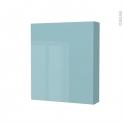 Armoire de toilette - Rangement haut - KERIA Bleu - 1 porte - Côtés décors - L60 x H70 x P17 cm