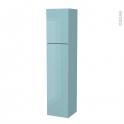 Colonne de salle de bains - 2 portes - KERIA Bleu - Côtés décors - Version A - L40 x H182 x P40 cm