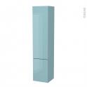 Colonne de salle de bains - 2 portes - KERIA Bleu - Côtés décors - Version B - L40 x H182 x P40 cm