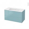 Meuble de salle de bains - Plan vasque REZO - KERIA Bleu - 2 tiroirs - Côtés décors - L100,5 x H58,5 x P50,5 cm