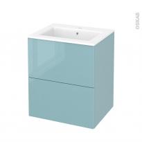 Meuble de salle de bains - Plan vasque NAJA - KERIA Bleu - 2 tiroirs - Côtés décors - L60,5 x H71,5 x P50,5 cm