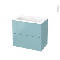 Meuble de salle de bains - Plan vasque NAJA - KERIA Bleu - 2 tiroirs - Côtés décors - L80,5 x H71,5 x P50,5 cm