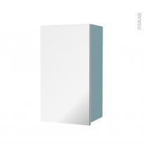 Armoire de salle de bains - Rangement haut - KERIA Bleu - 1 porte miroir - Côtés décors - L40 x H70 x P27 cm