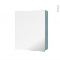 Armoire de toilette - Rangement haut - KERIA Bleu - 1 porte miroir - Côtés décors - L60 x H70 x P17 cm