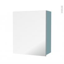 Armoire de salle de bains - Rangement haut - KERIA Bleu - 1 porte miroir - Côtés décors - L60 x H70 x P27 cm
