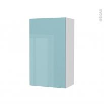 Armoire de salle de bains - Rangement haut - KERIA Bleu - 1 porte - Côtés blancs - L40 x H70 x P27 cm