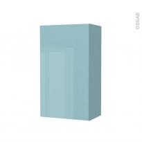 Armoire de salle de bains - Rangement haut - KERIA Bleu - 1 porte - Côtés décors - L40 x H70 x P27 cm