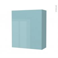 Armoire de salle de bains - Rangement haut - KERIA Bleu - 1 porte - Côtés décors - L60 x H70 x P27 cm