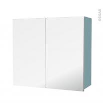 Armoire de salle de bains - Rangement haut - KERIA Bleu - 2 portes miroir - Côtés décors - L80 x H70 x P27 cm