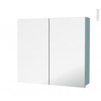 Armoire de toilette - Rangement haut - KERIA Bleu - 2 portes miroir - Côtés décors - L80 x H70 x P17 cm