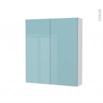 Armoire de toilette - Rangement haut - KERIA Bleu - 2 portes - Côtés blancs - L60 x H70 x P17 cm