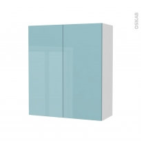 Armoire de salle de bains - Rangement haut - KERIA Bleu - 2 portes - Côtés blancs - L60 x H70 x P27 cm