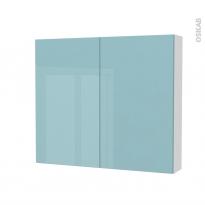 Armoire de toilette - Rangement haut - KERIA Bleu - 2 portes - Côtés blancs - L80 x H70 x P17 cm