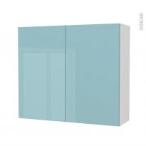 Armoire de salle de bains - Rangement haut - KERIA Bleu - 2 portes - Côtés blancs - L80 x H70 x P27 cm