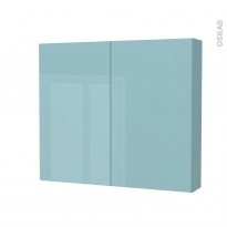 Armoire de toilette - Rangement haut - KERIA Bleu - 2 portes - Côtés décors - L80 x H70 x P17 cm