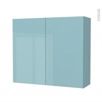 Armoire de salle de bains - Rangement haut - KERIA Bleu - 2 portes - Côtés décors - L80 x H70 x P27 cm