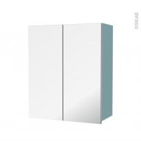Armoire de salle de bains - Rangement haut - KERIA Bleu - 2 portes miroir - Côtés décors - L60 x H70  xP27 cm