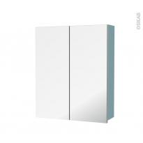 Armoire de toilette - Rangement haut - KERIA Bleu - 2 portes miroir - Côtés décors - L60 x H70 x P17 cm