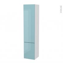 Colonne de salle de bains - 2 portes - KERIA Bleu - Côtés blancs - Version B - L40 x H182 x P40 cm