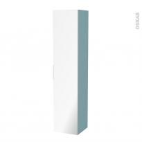Colonne de salle de bains - 1 porte miroir - KERIA Bleu - Côtés décors - L40 x H182 x P40 cm