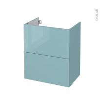 Meuble de salle de bains - Sous vasque - KERIA Bleu - 2 tiroirs - Côtés décors - L60 x H70 x P40 cm