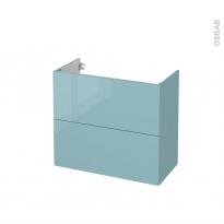 Meuble de salle de bains - Sous vasque - KERIA Bleu - 2 tiroirs - Côtés décors - L80 x H70 x P40 cm