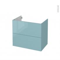 Meuble de salle de bains - Sous vasque - KERIA Bleu - 2 tiroirs - Côtés décors - L80 x H70 x P50 cm