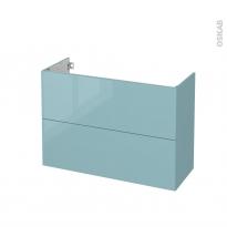 Meuble de salle de bains - Sous vasque - KERIA Bleu - 2 tiroirs - Côtés décors - L100 x H70 x P40 cm