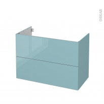 Meuble de salle de bains - Sous vasque - KERIA Bleu - 2 tiroirs - Côtés décors - L100 x H70 x P50 cm
