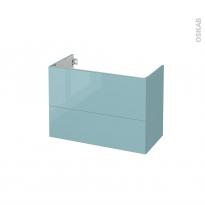 Meuble de salle de bains - Sous vasque - KERIA Bleu - 2 tiroirs - Côtés décors - L80 x H57 x P40 cm
