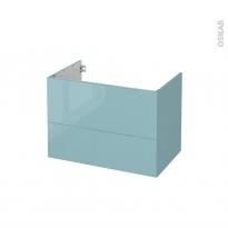 Meuble de salle de bains - Sous vasque - KERIA Bleu - 2 tiroirs - Côtés décors - L80 x H57 x P50 cm