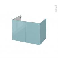 Meuble de salle de bains - Sous vasque - KERIA Bleu - 2 portes - Côtés décors - L80 x H57 x P50 cm