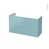 Meuble de salle de bains - Sous vasque - KERIA Bleu - 2 tiroirs - Côtés décors - L100 x H57 x P40 cm