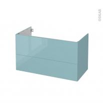 Meuble de salle de bains - Sous vasque - KERIA Bleu - 2 tiroirs - Côtés décors - L100 x H57 x P50 cm