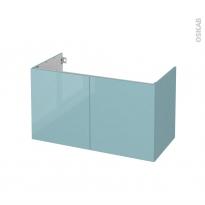 Meuble de salle de bains - Sous vasque - KERIA Bleu - 2 portes - Côtés décors - L100 x H57 x P50 cm