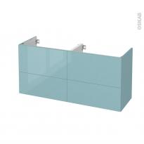 Meuble de salle de bains - Sous vasque double - KERIA Bleu - 4 tiroirs - Côtés décors - L120 x H57 x P40 cm