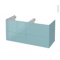Meuble de salle de bains - Sous vasque double - KERIA Bleu - 4 tiroirs - Côtés décors - L120 x H57 x P50 cm