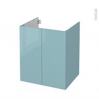 Meuble de salle de bains - Sous vasque - KERIA Bleu - 2 portes - Côtés décors - L60 x H70 x P50 cm