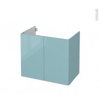 Meuble de salle de bains - Sous vasque - KERIA Bleu - 2 portes - Côtés décors - L80 x H70 x P50 cm
