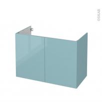 Meuble de salle de bains - Sous vasque - KERIA Bleu - 2 portes - Côtés décors - L100 x H70 x P50 cm