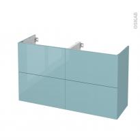 Meuble de salle de bains - Sous vasque double - KERIA Bleu - 4 tiroirs - Côtés décors - L120 x H70 x P40 cm
